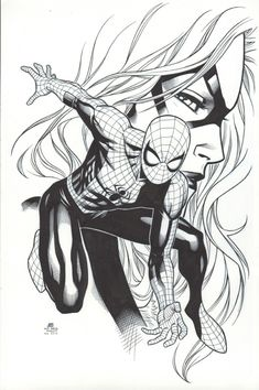 Jim Cheung -- Spider-Man & Black Cat -- Mark Morales INKS Comic Art