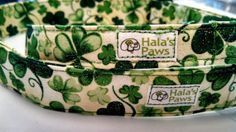 White with Clovers and Glitter   dog collar by HalasPaws on Etsy, $11.99
