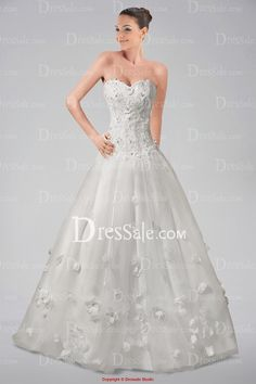 Classy Strapless Wedding Gown with Beaded Appliques and Floral