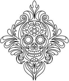 Sugar skull. Calavera. Colouring in.