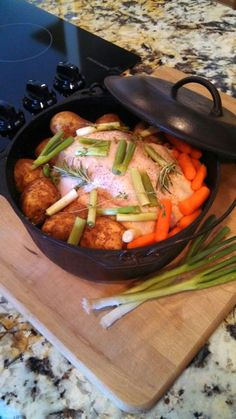 Healthy Dutch Oven Chicken: Slice yellow onion, layer bottom of pot. Brush chicken with oil. Salt/Pep chicken, place in pot. Pour 1 cp chicken broth into bottom of pot. Press 3 garlic cloves, put garlic in broth. Cut potatoes in half, place in pot with carrots. Place spring onion or leeks in pot with 2 sprigs each fresh Thyme and Rosemary. Salt/Pep veggies. Place Dutch Oven on wood stove, or oven until internal chicken breast temp is 165 degrees. Approx cook time is 2 hours. (oven temp 350)