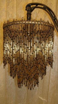 Antique 1900s czech 10x11 mercury glass beaded chandelier lamp original design hand made all glass bead fringe shade only shade is 7 across top and 10 long from top to bottom tips bronze and gold color aloadofball Choice Image