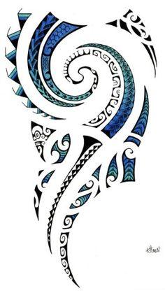 555310-de-tatuajes-de-muslo-maories-olas-con-fondo-azul-de-taa-tiki-tattoo.jpg (283×500)