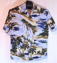 Hilo Hattie Size XL. Hawaiian Loud Shirt Aloha. Clock Tower Island Boats Palm Tree. | eBay!