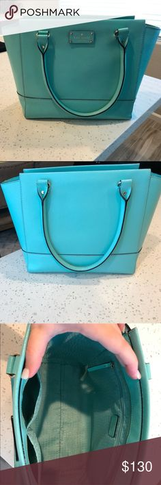 Tiffany blue Kate Spade purse Large used Kate Spade handbag 12 inches long, 11 tall, and 6 wide. In good condition kate spade Bags Shoulder Bags