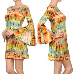 Boho Chic psychedelic Tunic Dress - Very Cute psychedelic Boho Retro Chic Dress, Batkik Dye with colorful eye-catching pattern, Flattering lines and long sleeves. Short dress in a relaxed style with kimono sleeves and a back keyhole button closure. - $29.00