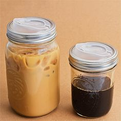 Turn a canning jar into a travel mug with this sippin' lid.  I know SO many hipsters that would love this.  $8  Try using a FREE plastic coffee top from the gas station....grab a few each time u but a coffee....just screw the top on.
