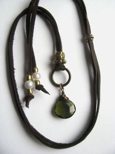 Leather Amulet Talisman Pendant Necklace with Olive by saltyduck, $67.00