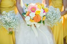 Cheery yellow bridesmaid dresses. #wedding