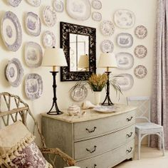Filling a wall with plates ~ The Enchanted Home: Transferware