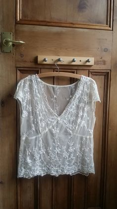 Vintage sheer blouse embroidered shirt cream by DollyTopsyVintage