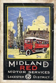 Midland Red bus and clock tower, Leicester.