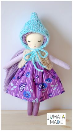 Lavender handmade cloth pixie doll, 10 inches, made by Jumatamade