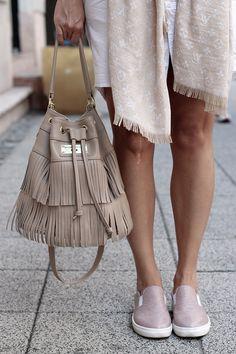 Leather bag: Annamaria Pap Slipon: Cango & Rinaldi Bucket Bag, Leather Bag, Hair, Outfits, Accessories, Shoes, Fashion, Style, Moda