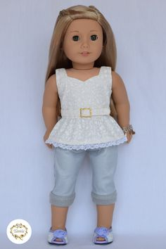 American girl doll clothes Peplum Blouse with by PricessPrincess