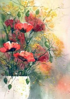 """Watercolor painting """"Red Tulips"""" by Julia Kirilina Watercolor Landscape, Watercolor Flowers, Watercolor Paintings, Watercolor Artist, Pastel Artwork, Painting Inspiration, Flower Art, Hotmail Fr, Poppies"""