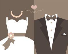 [フリーイラスト素材] イラスト, 結婚式 / ウェディング / ブライダル, ウェディングドレス, タキシード, 衣服 / 衣類, AI ID:201405142300