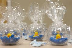 Mini fish bowl, blue mm's, and a rubber duck. Baby shower favors. Photo by Captured Memories by Esta Eberhardt