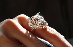 Silver Tiger Ring, Zodiac Jewelry, 3D printing Maybe something for 3D Printer Chat?