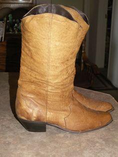 Ladies' Boots Soft Leather Gold Metal Toe Size 8 M Women's Vintage Western Wear #Unbranded #CowboyWestern