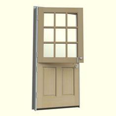 JELD-WEN 36 in. x 80 in. 9 Lite Unfinished Dutch Hemlock Wood Prehung Front Door with Brickmould