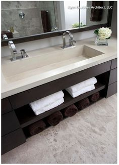 Sink and vanity are interesting. not sure if I have the width to do a double wide sink. Pinebrook Residence - contemporary - bathroom - cincinnati - by Ryan Duebber Architect, LLC Bathroom Renos, Master Bathroom, Bathroom Ideas, Bathroom Pink, Large Bathroom Sink, Budget Bathroom, Design Bathroom, Trough Sink Bathroom, Wooden Bathroom
