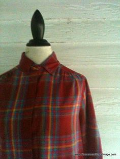 Vintage Plaid Shirt  Red Plaid Americana by runaroundsuevintage, $20.00