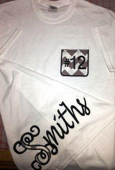 Tattoo Pocket T-Shirt with monogrammed chevron pocket on Etsy, $25.95