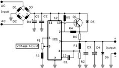 Adjustable Symmetrical Power Supply Circuit Diagram
