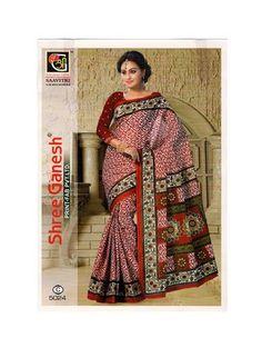 Savitri 5024 C Maroon Designer Printed Pure Cotton Saree Cotton Sarees Online Shopping, Silk Sarees Online, Formal Saree, Cotton Silk, Print Design, Sari, Printed, How To Wear, Collection