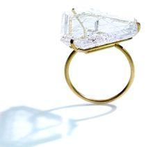 ETSUKO SONOBE-JP Ring: Untitled, 2013 Rutilated quartz, K20YG http://etsukosonobe.com/