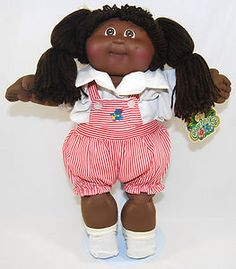 """One of the first mass-marketed """"natural"""" hair African American dolls.  circa 1980s African American 1 Head Mold Cabbage Patch Kids Girl 