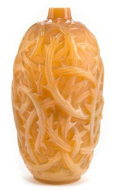 R. LALIQUE CASED BUTTERSCOTCH GLASS RONCES  VASE  Circa 1921  Molded: R. LALIQUE  Engraved: Lalique  9-1/2 inches high (24.1 cm