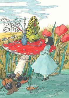 Alice in wonderland illustrated by the galician artist Ana Santiso  http://anasantiso.blogspot.com.es  Adaptación da novela de Lewis Carrol  pensada para os lectores máis novos  por María Lado  Edicións Do Cumio/Ellago Ediciones  técnica:tinta china, acuarela e gouache