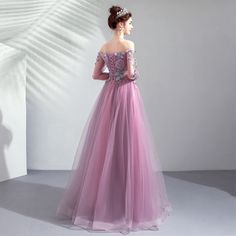 Purple embroidered flower long sleeve prom dress, evening dress: Eisenge sell, affordable high quality wedding dresses & bridal gowns, formal dresses for various events, etc in a variety of styles & sizes. Prom Party Dresses, Bridal Dresses, Evening Dresses, Formal Dresses, Prom Dresses Long With Sleeves, Embroidered Flowers, Ball Gowns, Tulle, Big Closets