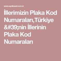 İllerimizin Plaka Kod Numaraları,Türkiye'nin İllerinin Plaka Kod Numaraları