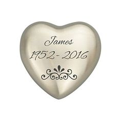 Personalized Patterned Silver Heart Urn Keepsake for Ashes Cremation * Read more reviews of the product by visiting the link on the image.