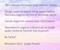 #josephmurphy #Bilinçaltı #bilinçaltınıngücü #olumlama #bolluk #zenginlik #çekimyasası #farkındalık #kuantum Note To Self, Reiki, Positivity, Happy, Mantra, Charts, Lifestyle, Graphics, Ser Feliz