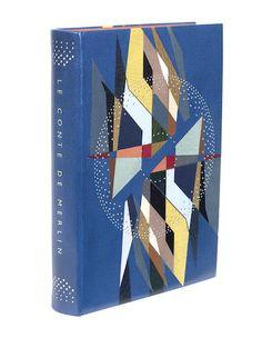 BOUCHER (LUCY) Un Conte de Merlin. Manuscrit de Lucy Boucher imprimé sous forme d'incunable gravé, 'EXEMPLAIRE UNIQUE', of an edition of 2,500 copies, EXTRA-ILLUSTRATED WITH THE ORIGINAL ILLUMINATED MANUSCRIPT BY LUCY BOUCHER, BOUND BY DEREK HOOD, Nice, Editions d'Art 'Le Chant des Spheres', 1966