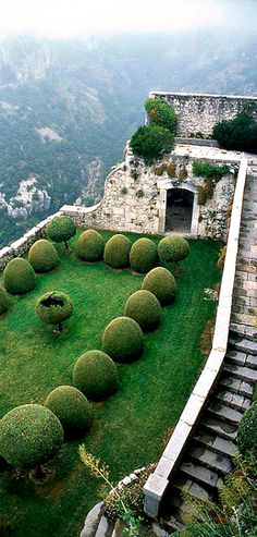 Travelling - The Italian Terrace of the Château de Gourdon in Southern France, not far from Nice and Cannes