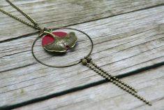 Sautoir bordeaux et feuille de ginkgo - esprit zen by Line et all on ezebee.com New Product, Zen, Creations, Pendant Necklace, Jewelry, Metal Ring, Burgundy Color, Lobster Clasp, Spirit