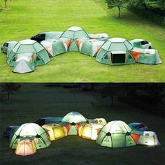 Tents that zip together. It's like a camping fort. The interconnectivity makes it almost like a set of tent townhouses, too, or a sideways residential tent tower. A complex of connected tents that each serves one or more functions within the larger whole. This is cool!