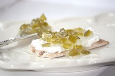 Celery Preserves with Mascarpone cheese on crackers
