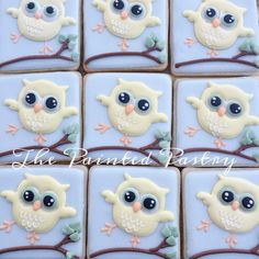 There are 50 of these sweeties and I am one tired decorator!  #thepaintedpastry #decoratedcookies #customcookies #beverly #beverlyma #beverlymassachusetts #cookies #cookieart #icedbisquits #icedcookies #babyshower #owl #owls #favor #favors #dessert