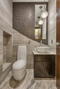 #WallTileWednesday highlights a bathroom installation of our Motion Advance, Charm Talisman, and Eurasia Grigio! #walltile #mosaic #love #inspiration #lighting #design #elements #tiny #bathroom #halfbath #designer #tile #floor #flooring #inspiration #DIY #lasvegas #living