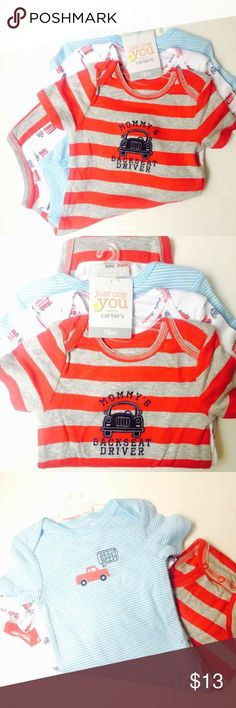 NWT SZ 18 Months 3PC Onesies Carter's Onesies  3 Piece Set Each Onesie has a different design  New with Tag  Size 18 months Carter's One Pieces Bodysuits