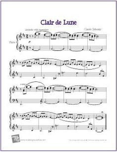Clair de Lune (Debussy) | Sheet Music for Easy Piano - http://makingmusicfun.net/htm/f_printit_free_printable_sheet_music/clair-de-lune-piano.htm