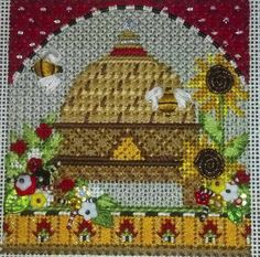 It's not your Grandmother's Needlepoint: Busy Bee Skep Club by Kelly Clark