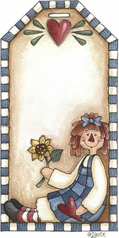 Ilustration by Laurie Furnell Diy And Crafts, Arts And Crafts, Paper Crafts, Tole Painting, Painting On Wood, Meninos Country, Decoupage, Quilt Labels, Raggedy Ann And Andy