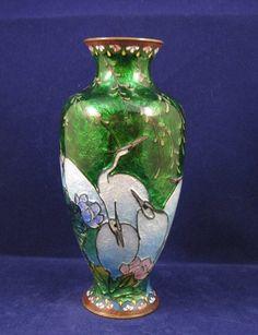 Antique Japanese ginbari green cloisonne vase with cranes Meiji